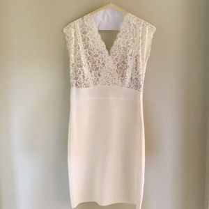 Bebe body-con bandage dress.  Color:eggshell